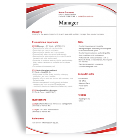 word résumé CV template manager