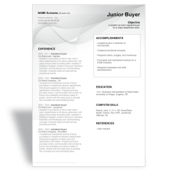 Word CV resume template Junior Buyer