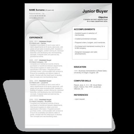 word template Résumé Junior Buyer