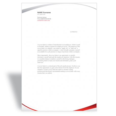 word template cover letter manager