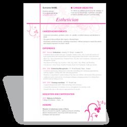 Word Resume CV template esthetician
