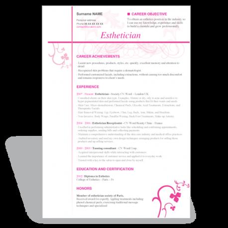 word CV résumé template Esthetician
