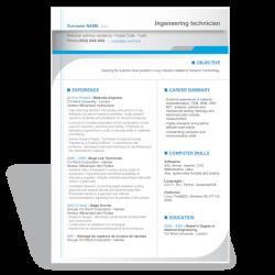 Word  resume CV template Engeneering Technician