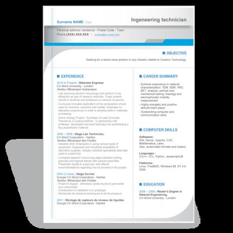 word Résumé CV template engineer