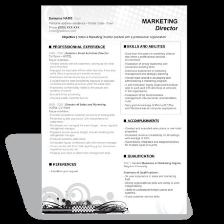 Marketing Director word resume template