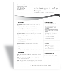Word resume template Marketing Internship