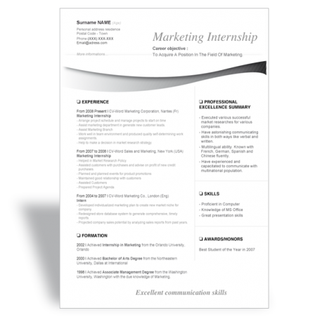word Résumé CV template marketing internship