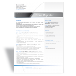 Word resume template News Reporter