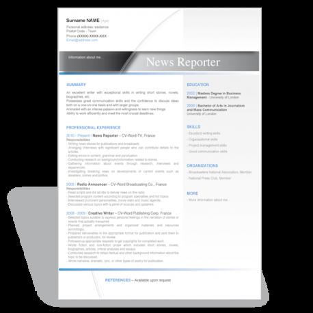 Word template résumé news reporter